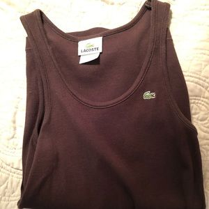 Lacoste Ribbed tank, Brown, size 38